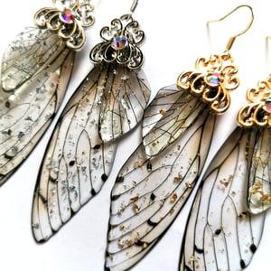 Image of Resin Cicada Wing Drop Earrings