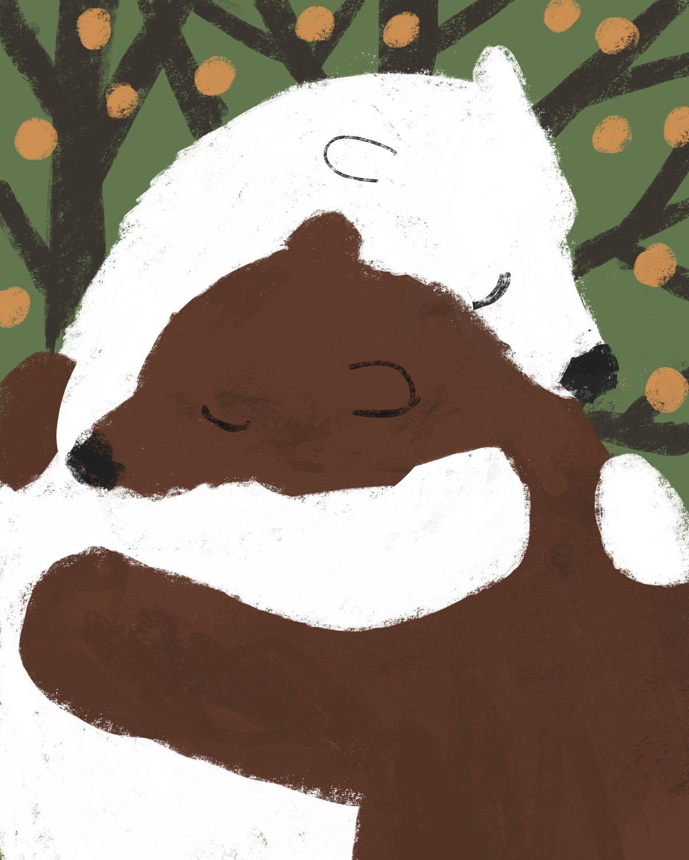 Image of Set of 6 'Bear Hug' luxury cards