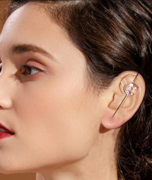 Image of Gold plated cubic zirconia ear wrap crawler hook ear cuff
