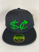 Image of Black Fitted Hat w/ Green 3D Logo