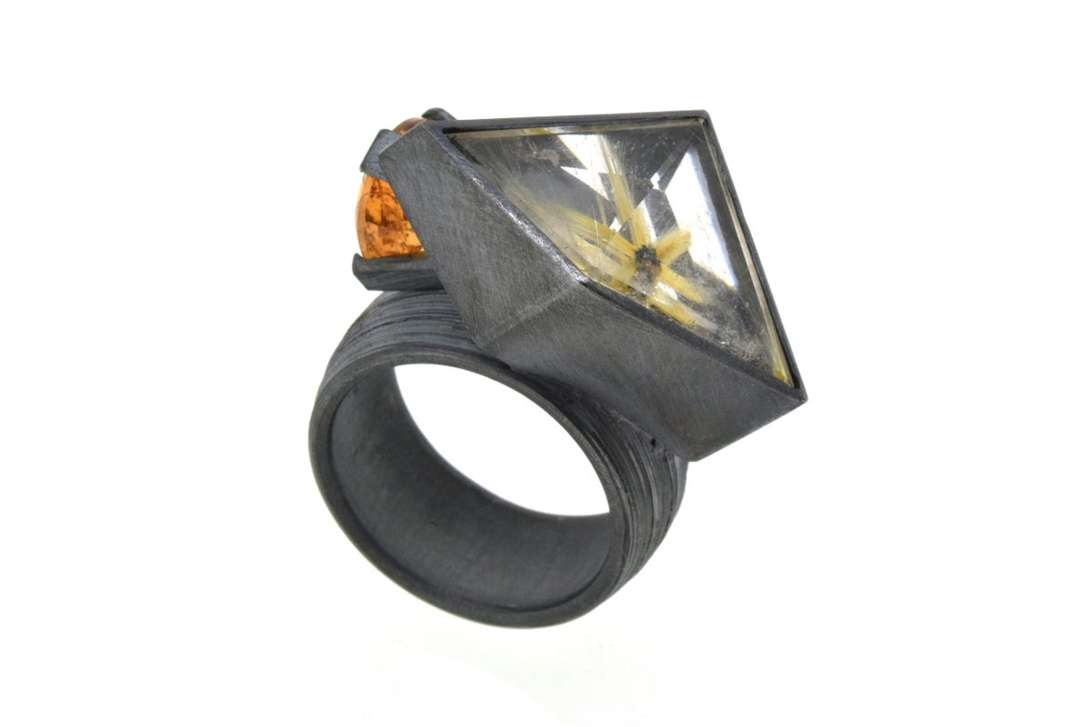 Contemporary Cocktail ring. Rutile quartz and imperial topaz by Chris Boland Jewellery