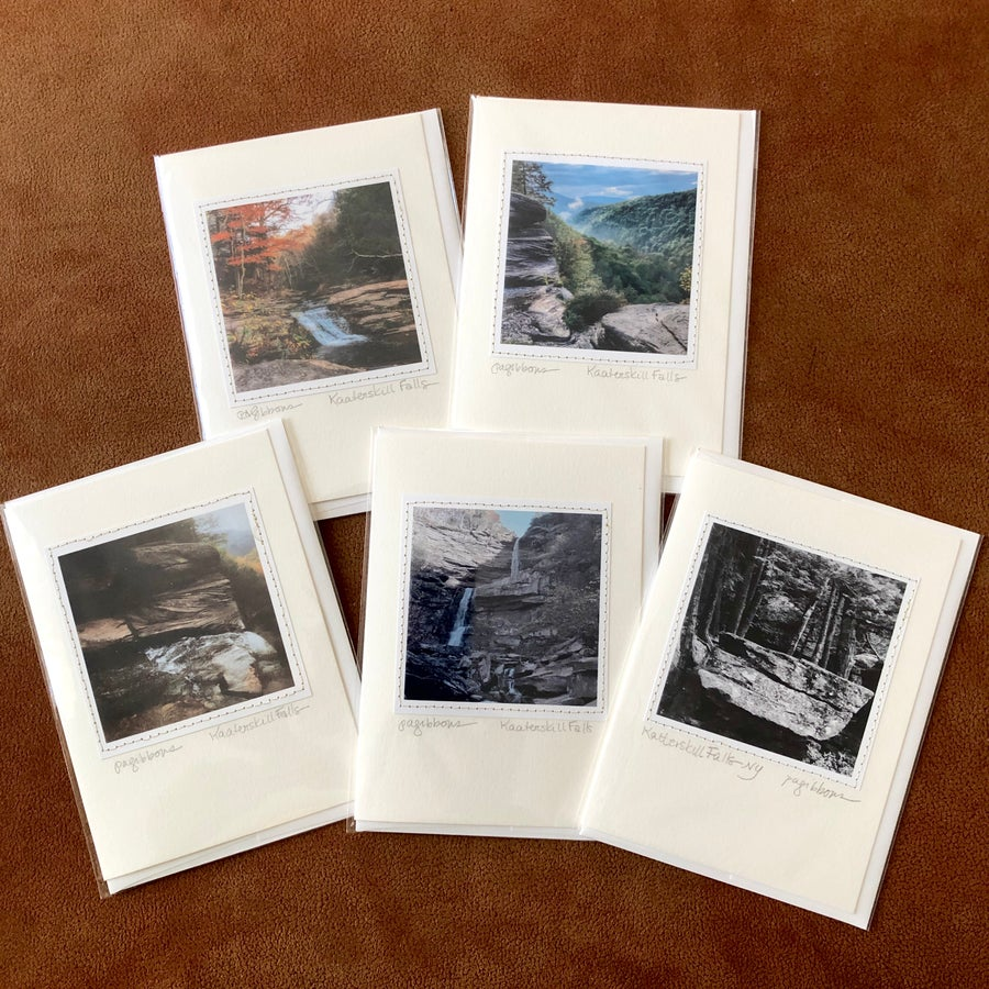 Image of 5 Handmade Greeting Cards Featuring Photographs of  Kaaterskill Falls New York