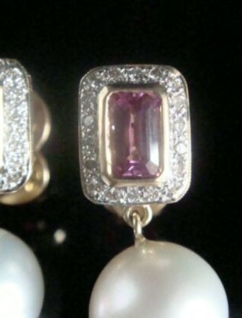Image of SUPERB 18CT NATURAL PINK SAPPHIRE CULTURED PEARL DIAMOND EARRINGS