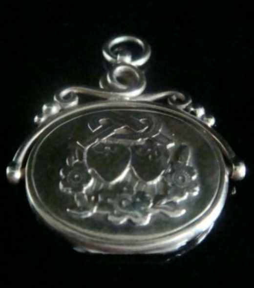 Image of EDWARDIAN 9CT HEART LOVERS KNOT SWIVEL LOCKET PENDANT 6.4g