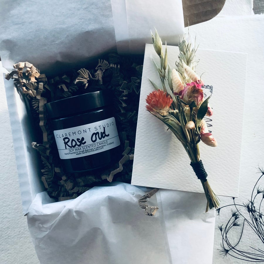 Image of Little Box of Love - Rose Oud Candle and Natural Posy