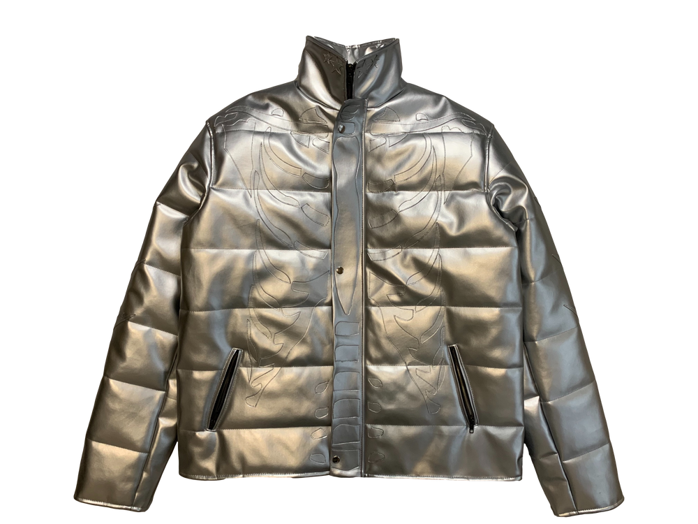 Image of LIQUID SILVER RIBCAGE BONE BUBBLE COAT