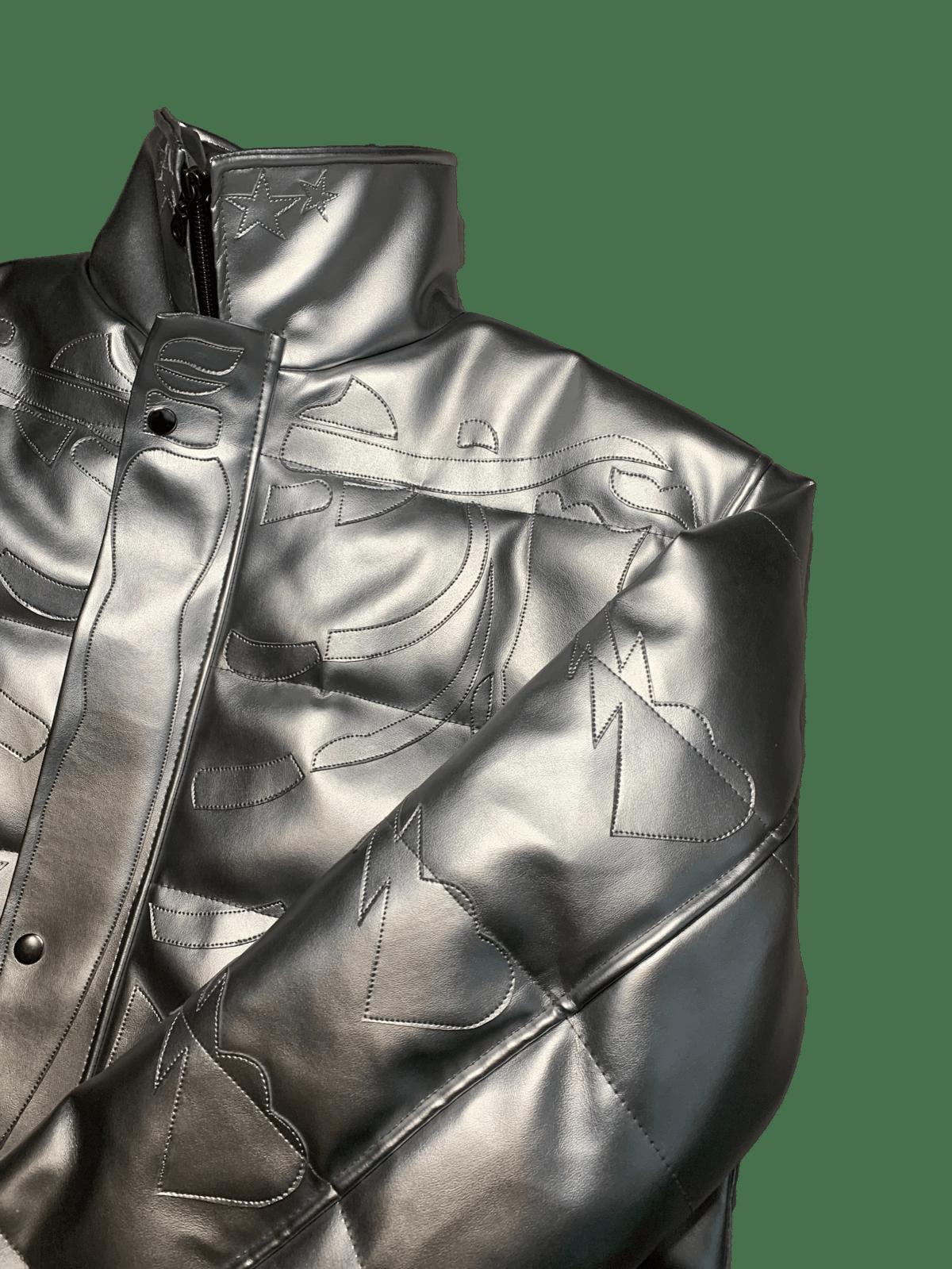 Image of LIQUID SILVER RIBCAGE BONE BUBBLE COAT