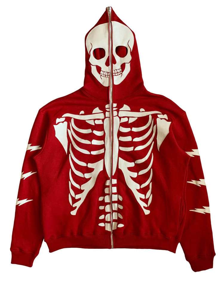 Image of CHERRY RED SKELETON FULL-ZIP HOODIE