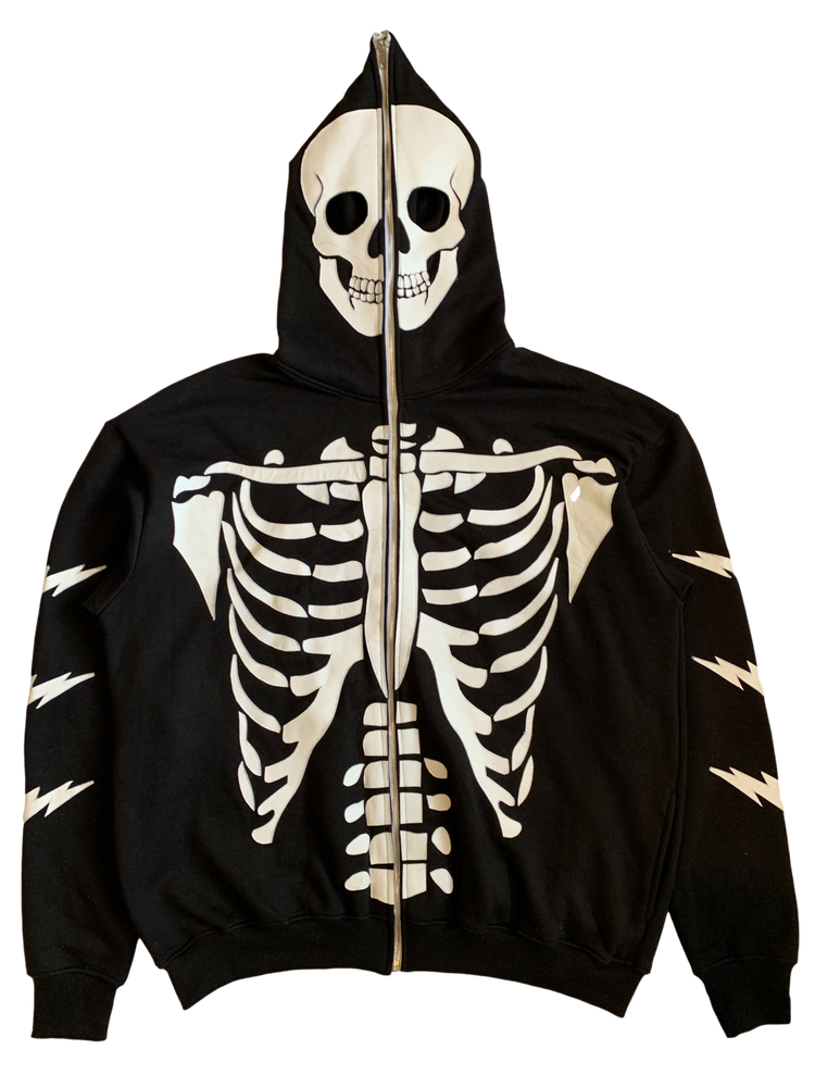 Image of BLACK SKELETON FULL-ZIP HOODIE