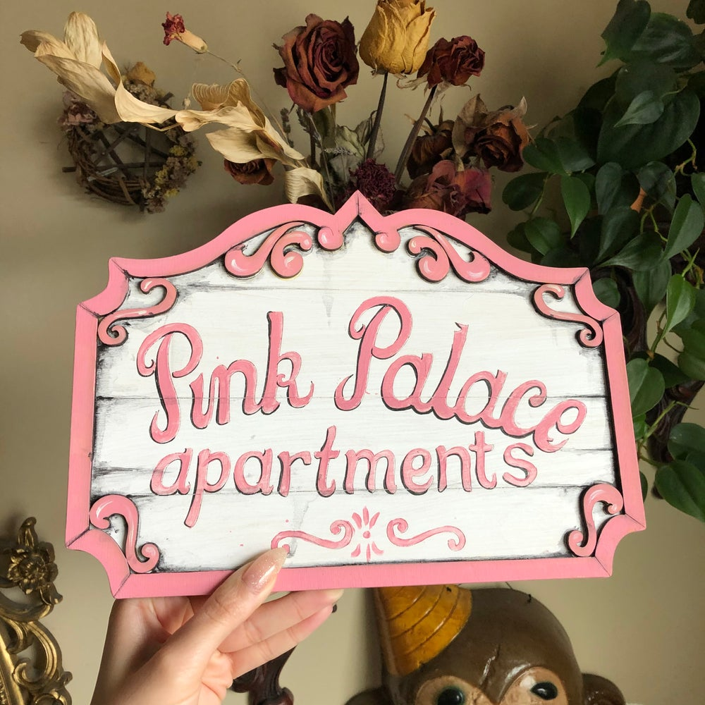 """Image of Pink Palace Sign 7.5x10.5"""""""