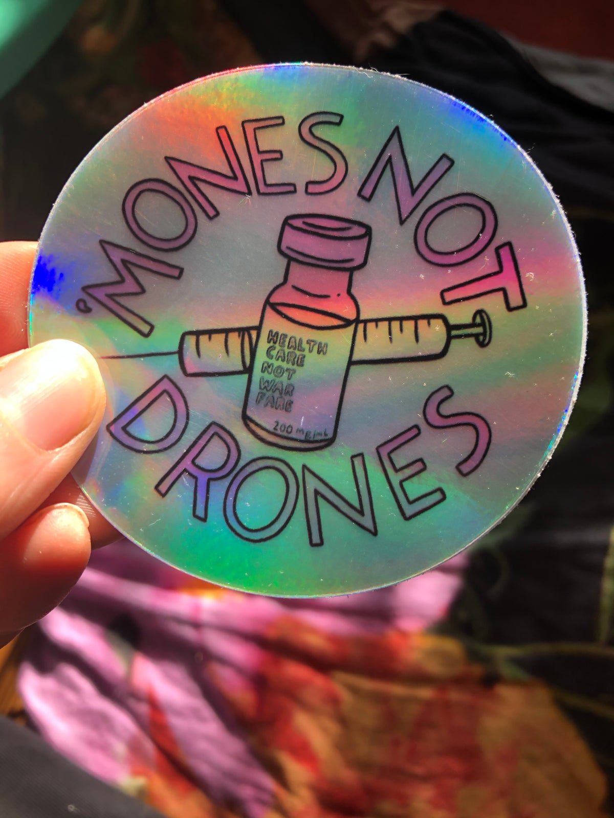 Image of 'Mones Not Drones button or sticker