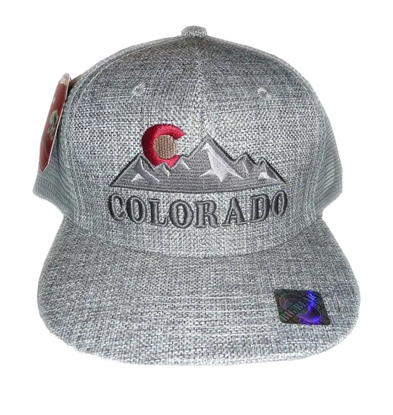 Image of COLORADO STATE LOGO ROCKY MOUNTAIN GREY MESHBACK SNAPBACK HAT