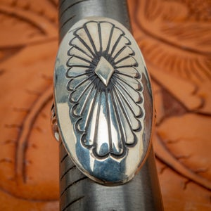 Image of Vintage Navajo Sterling Silver Ring with Concho like stamping Size 7