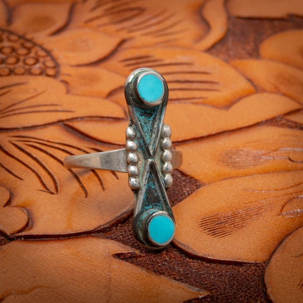 Image of Zuni Sterling Silver Ring with Turquoise Snake Eyes Infinity Design Yin Yang Size 7