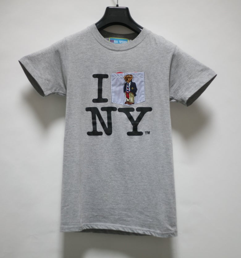 Image of I Bear NY - Grey Teddy Bear Pocket Tee Shirt