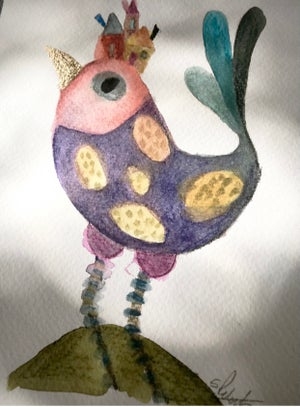 Image of Watercolour bird painting #4