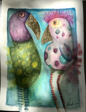 Image of Watercolour bird painting #5