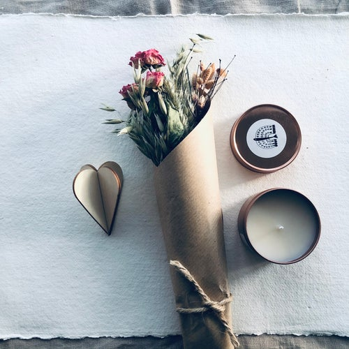 Image of Box of Love - Rose Oud Candle and Small Dried Posy