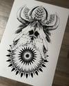 A3 Bull Skull Thistle Print.