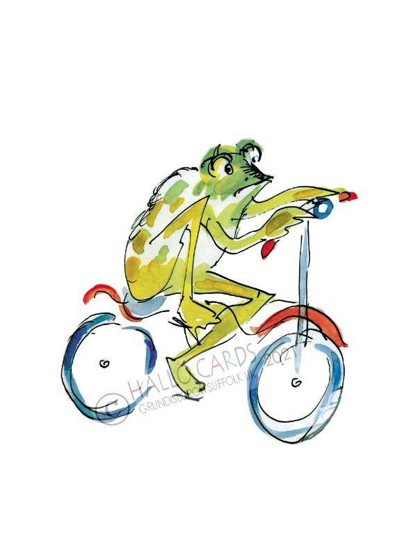 Image of Look - riding a bike is not easy when you are a frog...