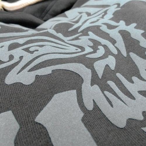 Image of GAME-WORN Super Heavyweight Pullover Hooded Sweatshirt - Charcoal Black/Grey