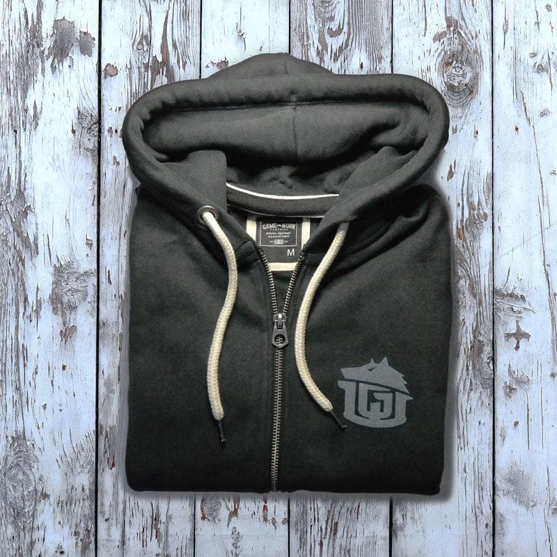 Image of GAME-WORN Super Heavyweight Zip Hooded Sweatshirt - Charcoal Black/Grey