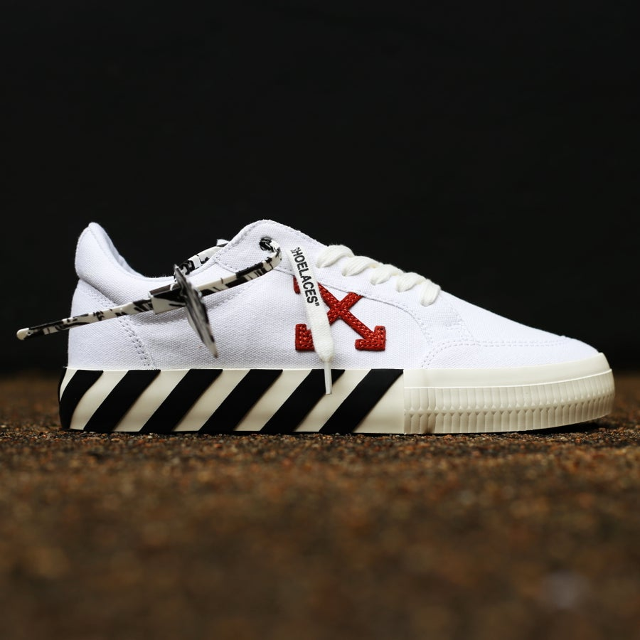 """Image of <FONT color=""""RED"""">NEW</FONT> OFF-WHITE C/O VIRGIL ABLOH - Vulc White Sneakers"""