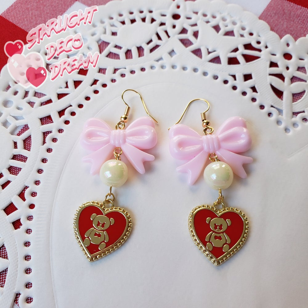 Image of Sweet Romance Teddy Bear Earrings