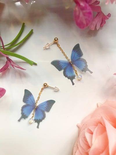 Image of Dainty butterfly dangle earrings