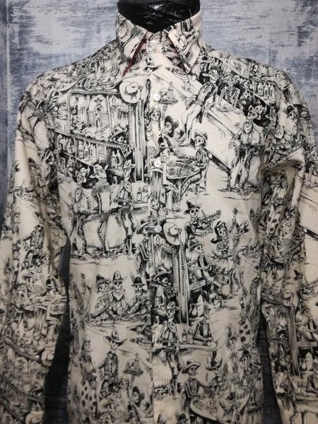 Image of Day of dead , skeletons drinking in a bar, men shirt
