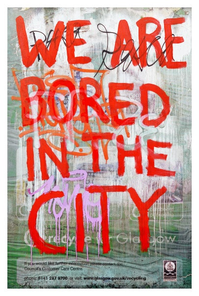 Image of Urban Scrawls Abstract Art - We Are Bored In The City