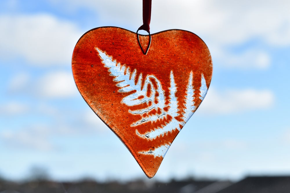 Image of Fern Frond Heart - Red, Pink or Pink/Violet