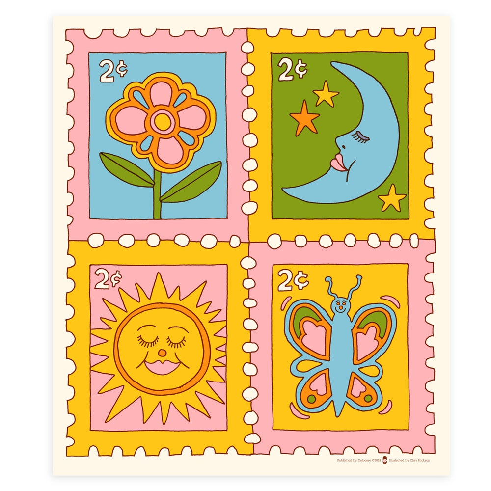 Image of Garden Postage screen print