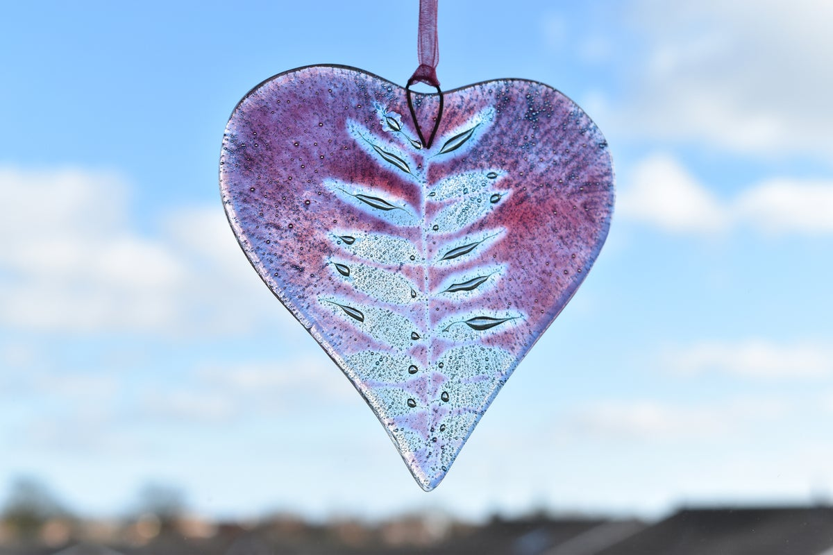 Image of Rowan Leaf Heart - Red, Pink or Pink/Violet