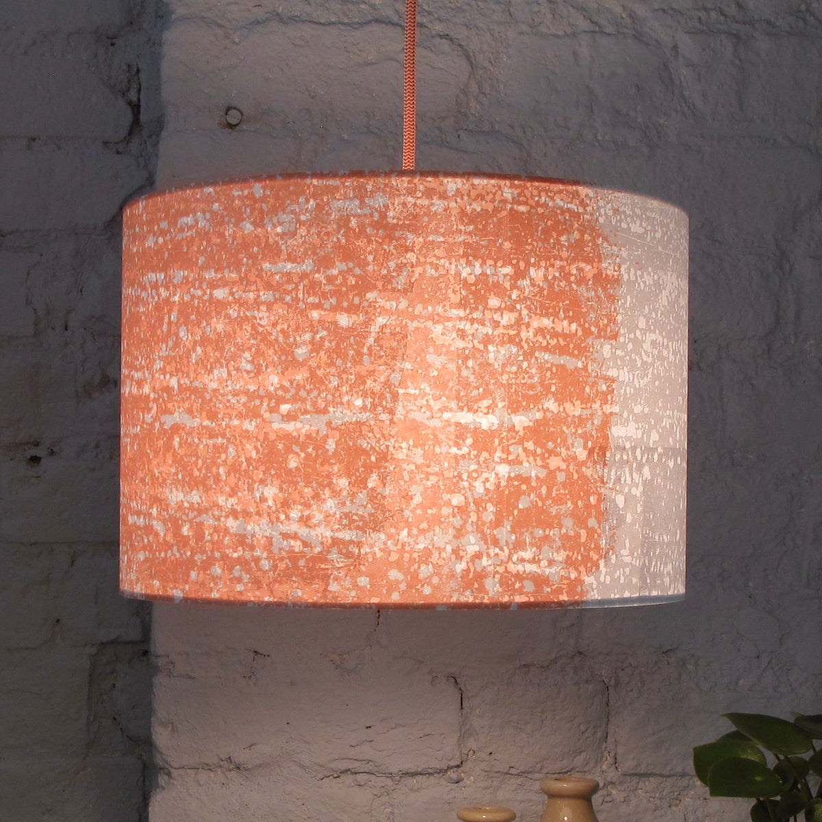 Image of Rain Strip Lampshade Coral | White