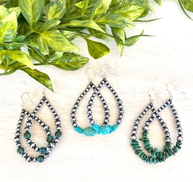 Turquoise & Navajo Pearl Earrings