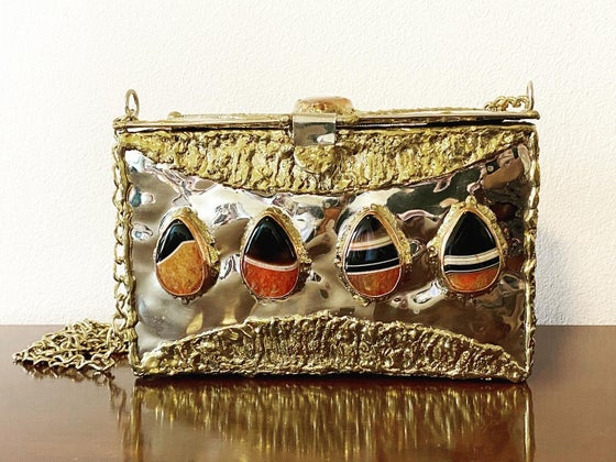 Image of Orange Agate and Brass Clutch