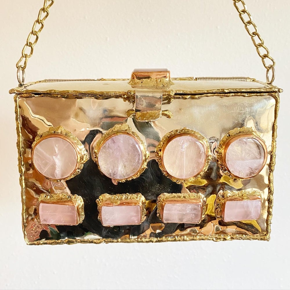 Image of Rose Quartz and Brass Clutch