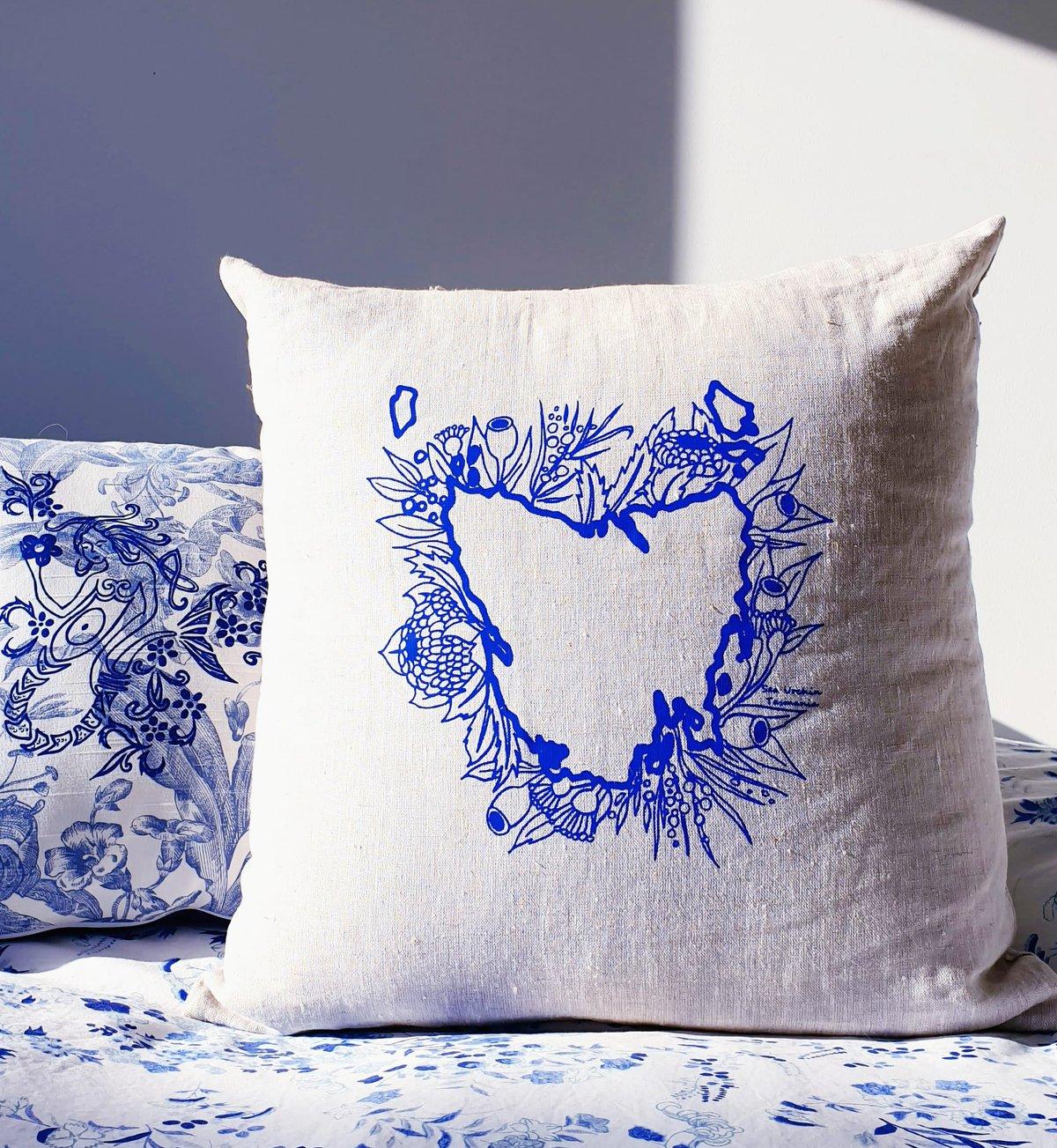 Totally Tasmania Cushion Cover in Oatmeal Linen - Blue design