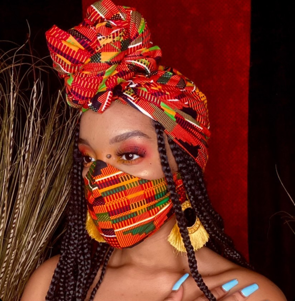 Image of Kente Headwrap & Face Mask Set