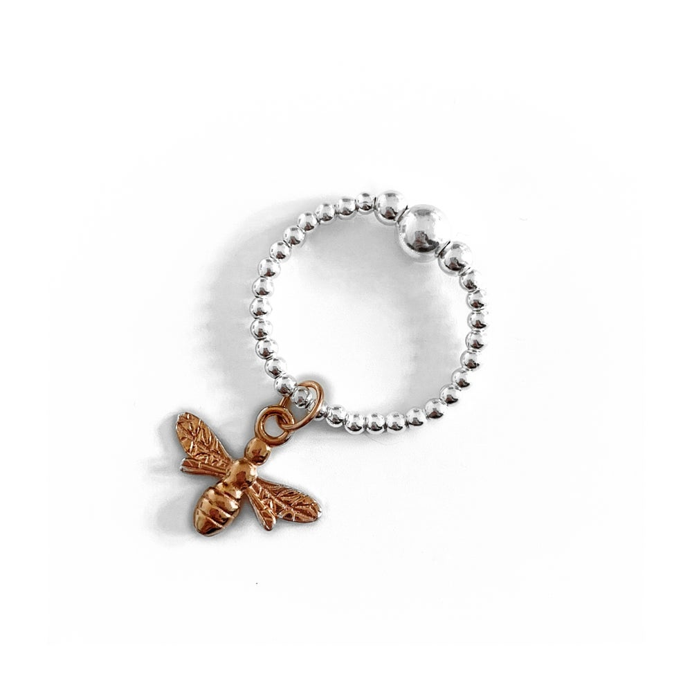 Image of Sterling Silver & Rose Gold Bee Charm Ring