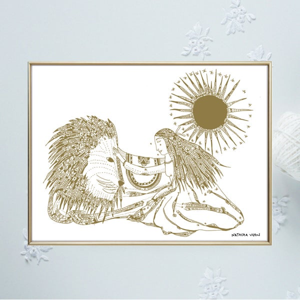 Image of Gold *Lion&Woman*_A3