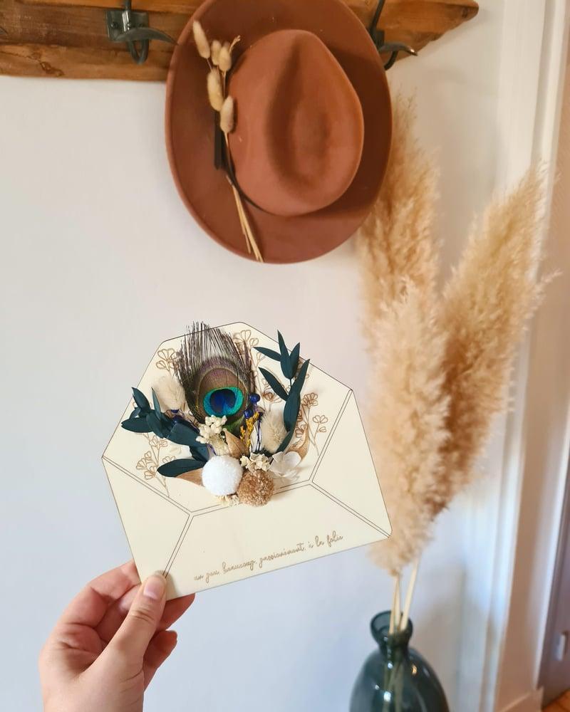 Image of Enveloppe fleurie - plume de paon