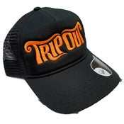 Image of Text Logo Distressed Cotton Trucker