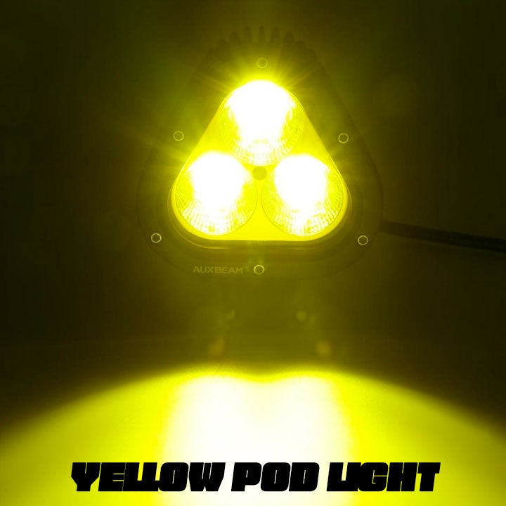 Image of Auxbeam 4 Inch Combo Beam Triangle LED Pods (Yellow/White)