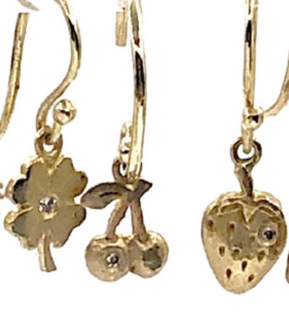 Image of 14 kt Charm Dangle Earrings (Clovers, Cherries, Strawberries)