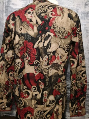 Image of Day of the dead red roses skeletons senioritas