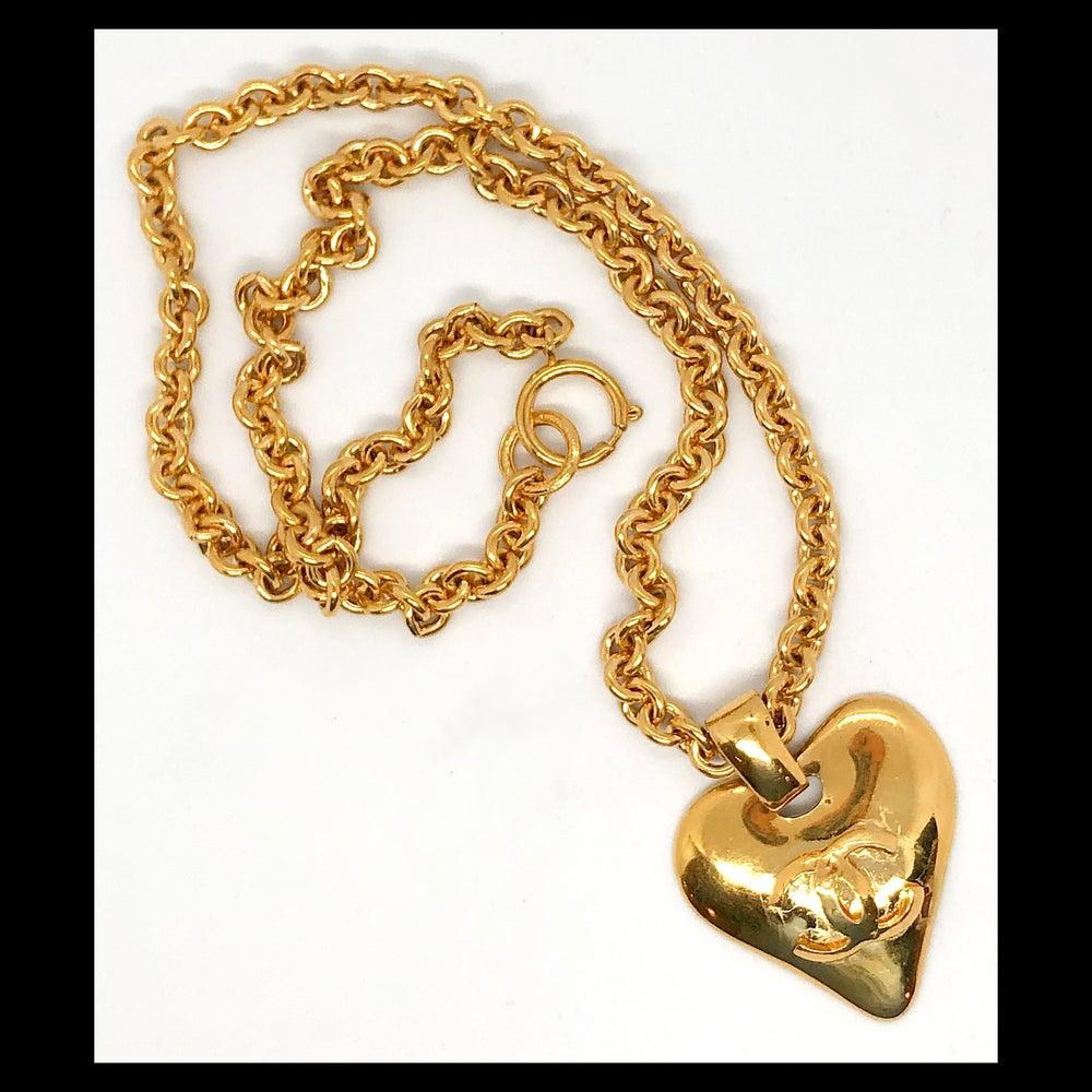 Image of Authentic Vintage 93P Chanel CC Heart Pendant Necklace