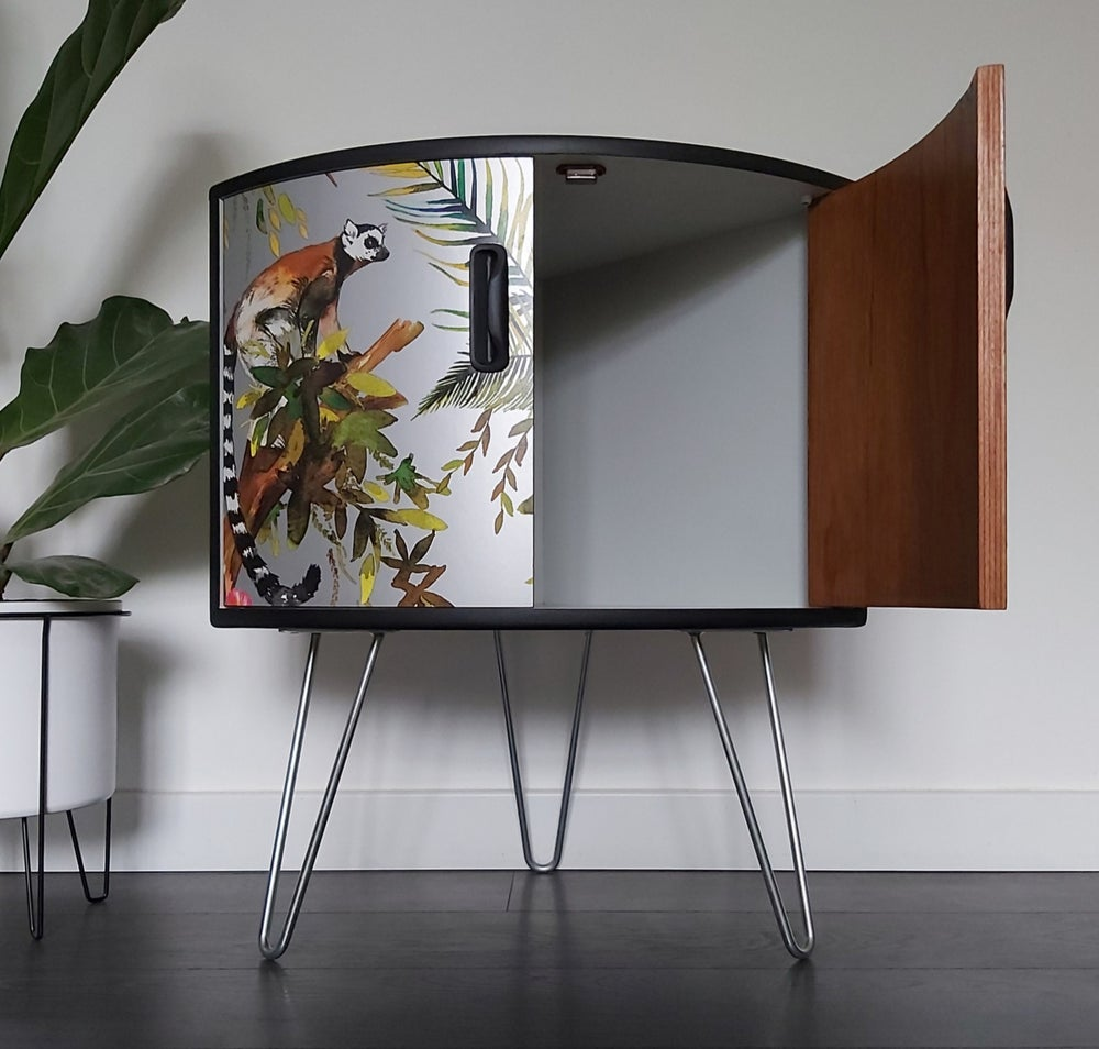 Image of •RESTYLED TO ORDER• G PLAN FRESCO CORNER CABINET WITH DECOUPAGE DESIGN