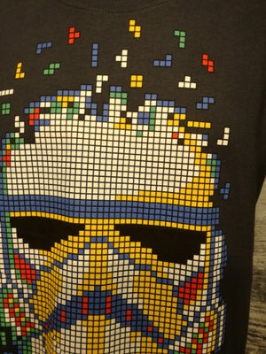Image of Tetris trooper on charcoal grey mens t shirt